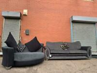 Gorgeous Grey & Black sofa & cuddle chair DFS delivery 🚚 sofa suite couch furniture