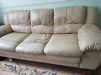 3 Seater Leather Cream Sofa - Solid & Strong, Very Sturdy - Free for Collection