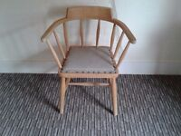 RETRO ERCOL STYLE ARMCHAIR CHAIR STRIPPED TO WOOD SOUND SOLID OFFICE COMPUTER CHILDS ROOM KITCHEN