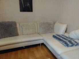 White leather corner sofa chaise end