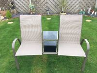 2 seater garden bench with table