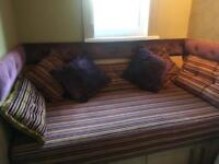 Day bed mattress couch and cushions pillows purple pink gold stripe