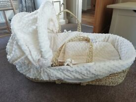 2 x Clair de Lune moses baskets and rocking stand