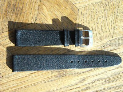 MDG Vintage N.O.S CERTINA Black leather strap with original Steel BUCKLE 16 mm.