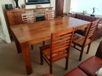Solid Hardwood Table and Four Chairs