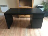**Black-Brown Ikea Malm Desk (Less Than 1 Year Old)**
