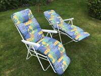 Sun Loungers - pair with cushions