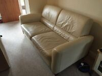 IKEA 2 x beige leather sofa's Good condition