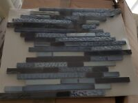Black, Grey, Blue Glass and Stone Mosaic Tiles 16 Sheets
