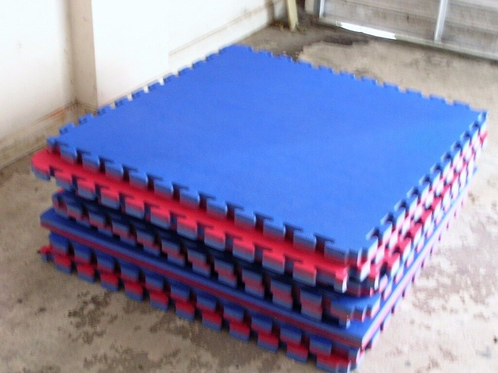 9 Reversible, Interlocking Martial Arts Mats, 1mx1mx40mm. Used but in good condition.