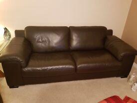 Violino brown leather 3 & 2 seater sofas