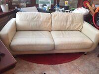 John Lewis Designer Leather Sofa, Cream