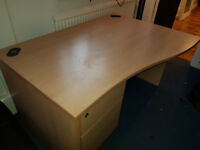 Wave Desk with pedistal draw unit, x 2 able to dismantle for transport
