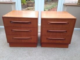 PAIR OF G-PLAN THREE DRAWER BEDSIDE CABINETS