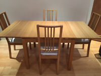 Bjursta Ikea Extendable Dining Table and Borje Chairs