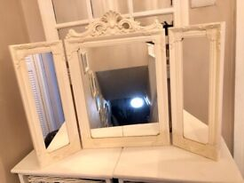 Ornate 3-way dressing table mirror