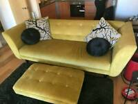 Excellent condition 4 seater Mikado Mustard Couch and Footstool for sale