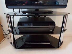 CORNER GLASS TV STAND (BLACK)