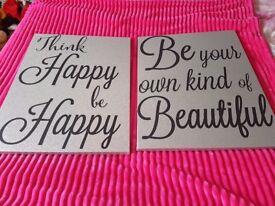 2 large sparkle quotation pictures