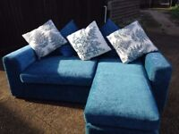 2 seater sofa chaise in petrol blue