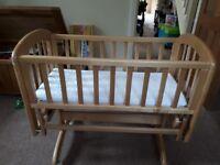 John Lewis Swinging Crib with mattress and 2 sheets