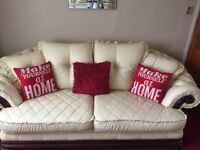 Large leather 3 seater sofa and chair
