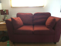 2 x 2 seater burgundy settee