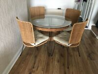Glass / Wicker Dining Table