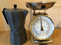 Retro mechanical scales and large stove-top espresso maker. £30 for set, or sold individually