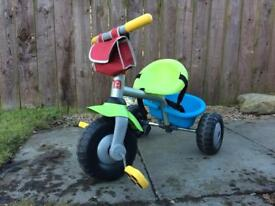 Kiddies pedal tricycle with pannier and cargo rack