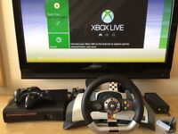 Xbox 360 Elite, 2 Wireless Controllers, Wireless ForceFeedback Wheel & Pedals and 16 great games!!!