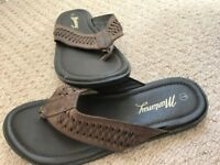 BROWN LEATHER FLIP-FLOP SANDALS, SIZE 7, BRAND NEW £18