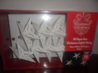 BRAND NEW DOBBIES : 10 paper star Christmas lights Warm white LED lights