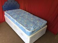 SINGLE DIVAN BED WITH HEADBOARD AND MATTRESS,CAN DELIVER