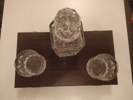 J G Durrand, Cut Glass Crystal Decanter with 2 crystal glasses