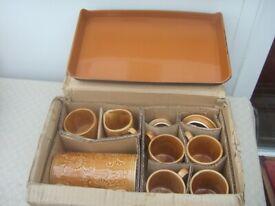 1960's Coffee set Unused Original packaging 4 mugs, coffee pot, milk jug, sugar bowl & lid.