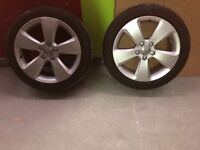 "4x 17"" Audi Alloy Wheels, 2 with good tyres"