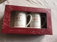 2 mugs gift 40 years marriage still in box £4