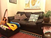 Super comfortable 3-seater leather sofa with footstool