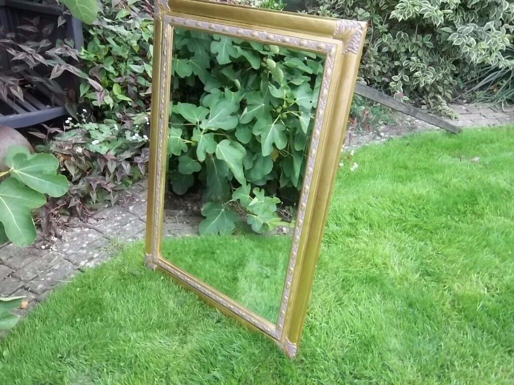 "LARGE 43"" x 31"" GOLD FRAMED MIRROR BEVELLED GLASS LOUNG DINING ROOM HEAVY"