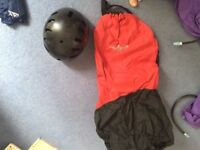 kayaking waterwave helmet and a wave form spray deck for sale for £50 or £25 each