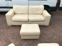 Klaussner two pieces leather set, two seater sofa, couch, settee, footstool (free local delivery)