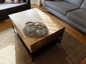 Brand new mango wood coffee table with lifting top and storage