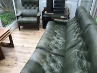 Leather 3 seater sofa settee and 2 armchairs