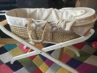 Moses basket with wooden stand and mattress