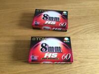 2 x 8mm TDK film tapes for a camcorder. SP 60 mins LP 120 mins.Brand New, unopened. £5