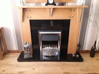 Oak Fireplace with granite backplate & hearth. (Fire included)