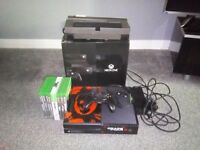 Xbox one 500GB black with all cables,kinect,1 controller and 9 games including FIFA 17