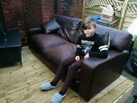 Hyde and chic genuine brown leather sofa. Its huge!