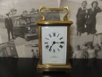 FRENCH BRASS CARRIAGE CLOCK 1930'S WORKS & IS IN GOOD CONDITION HAS IT'S ORIGINAL KEY £110